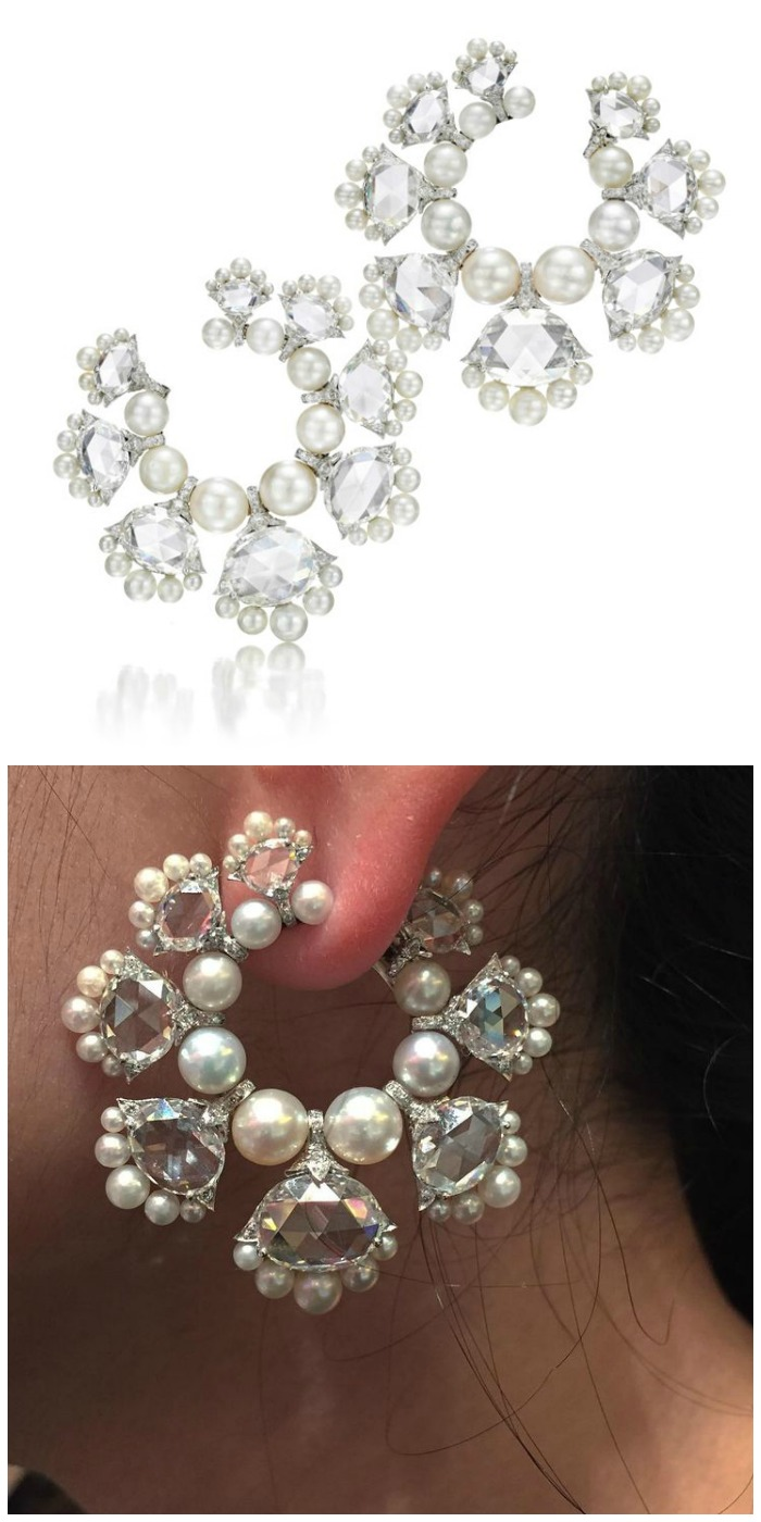 A pair of rose cut diamond and natural pearl earrings by Bhagat. At FD Gallery