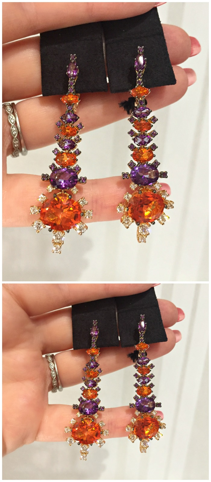 A glorious pair of Stefan Hafner colored gemstone earrings. Spotted at VicenzaOro.