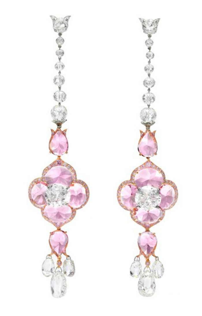 A pair of Bhagat earrings with old European and briolette-cut diamonds (23.98 carats total) and pink spinel (14.39 carats). At FD Gallery.