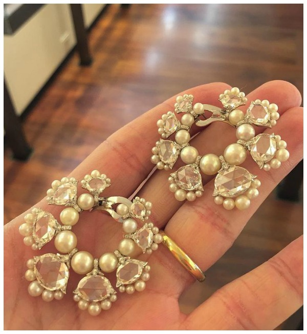 A stunning pair of rose cut diamond and natural pearl earrings by Bhagat. At FD Gallery