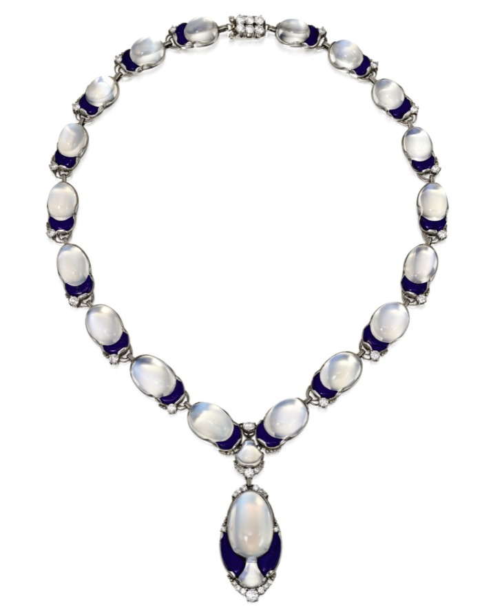 Platinum, Moonstone, Lapis Lazuli and Diamond Necklace, Tiffany & Co., Designed by Louis Comfort Tiffany.