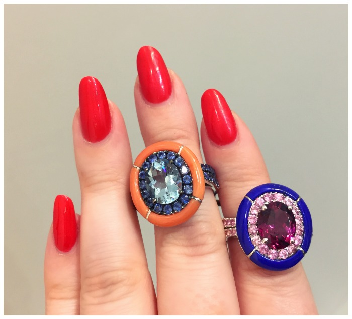 Two incredible rings by Carlo Barberis. These two remarkable pieces have carved hardstone halos.