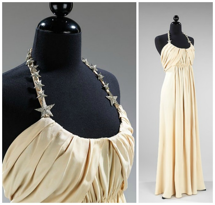 A Vionnet gown from 1938. I'm loving the rhinestone star details - I want to recreate this with brooches.