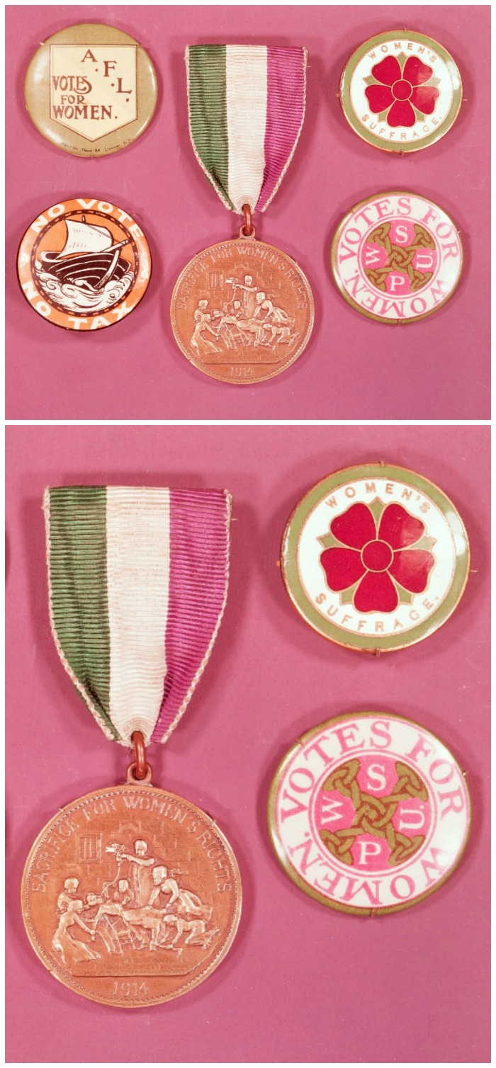 Actual suffragette jewelry tended to be buttons and badges, rather than high end precious pieces.
