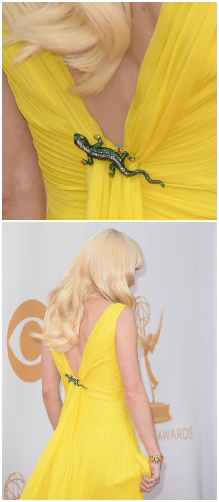 Ana Faris rocking a 19th century demantoid garnet lizard brooch from Fred Leighton at the 2013 Emmys.