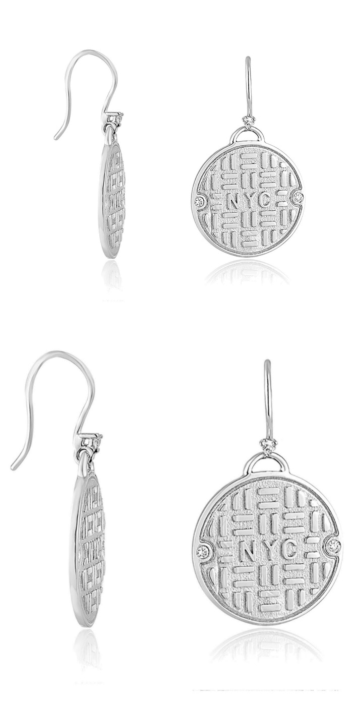 Julie Lamb's NYC manhole cover earrings in silver with diamonds.