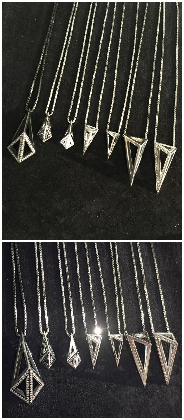 Stunning geometric silver pendants by Moratorium. With and without diamonds.