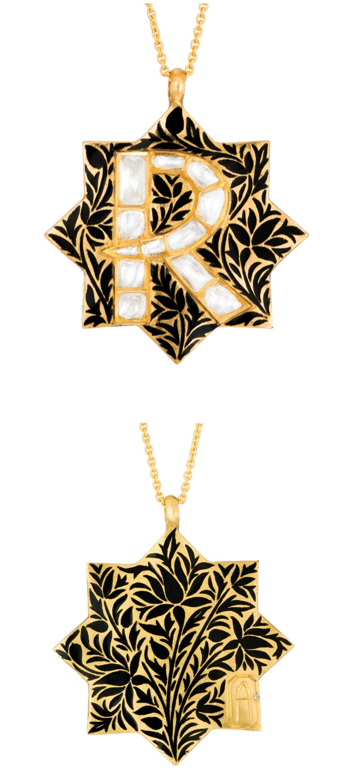 The beautiful Silk Shadow initial necklace from Agaro Jewels' Roya Collection. Enamel and diamonds on gold. Shown in letter R.