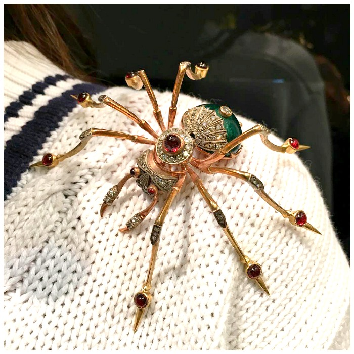 The lovely Elisha of ArtArdorned rocking a vintage spider brooch of incredible proportions.