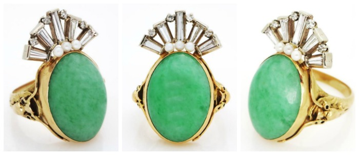 A fabulous gold, diamond, jade and pearl ring.