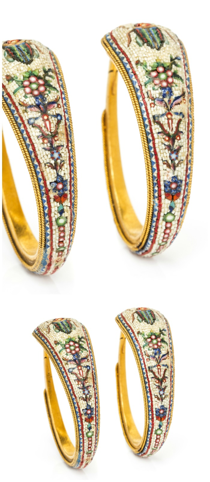 A pair of antique French Egyptian revival hoop earrings with micro-mosaic details.