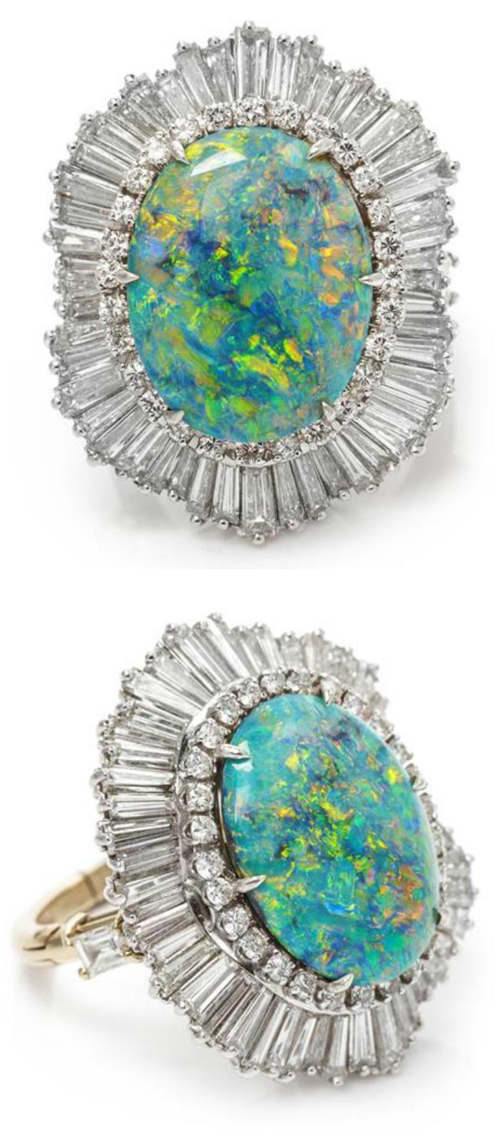 An antique Art Deco platinum, diamond, and sapphire brooch.