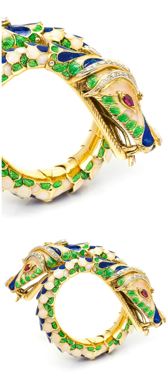 An exceptional vintage yellow gold, diamond, ruby, and colorful enamel twin chimera bracelet.
