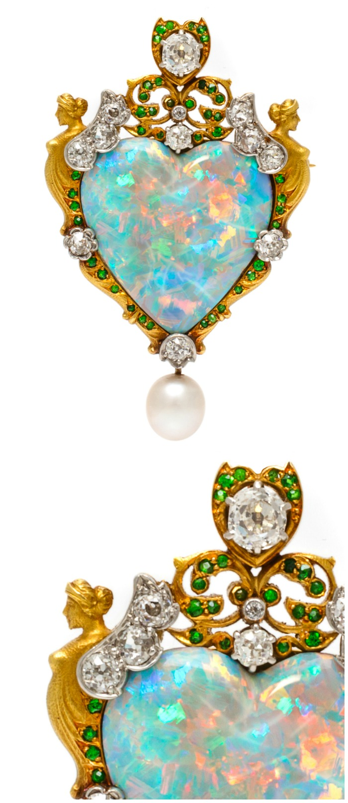 An important Renaissance Revival pendant brooch by Paulding Farnham for Tifany & Co., with a large opal, diamonds, demaintoid garnets set in gold and platinum.
