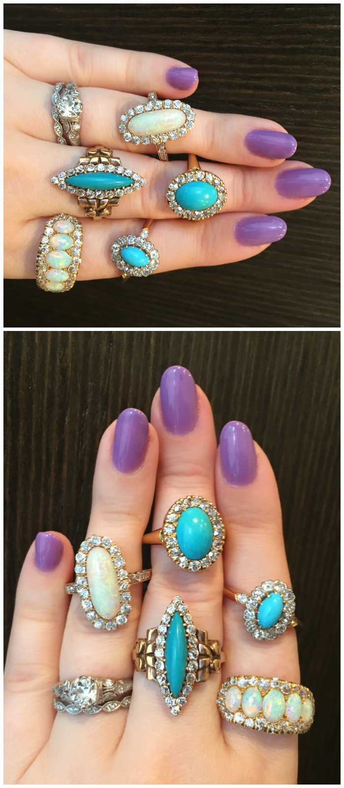 I love every single one of these antique rings from Erstwhile Jewelry Co.! Turquoise and opals with diamonds.