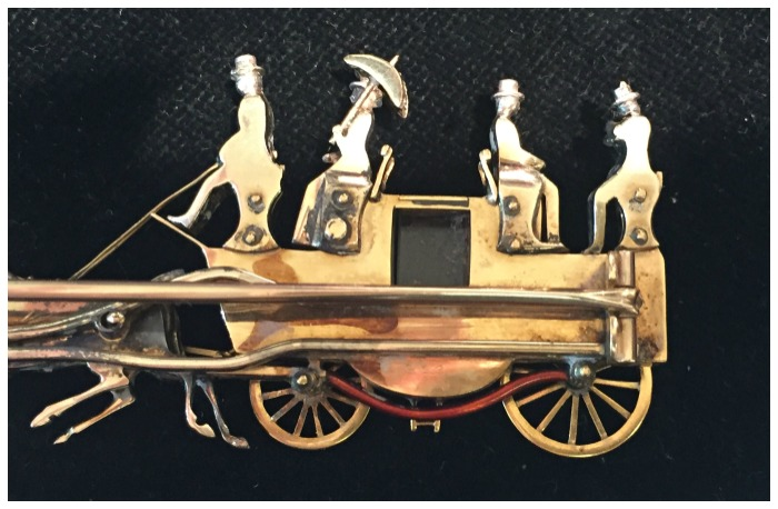 The back view of this Victorian era coaching brooch makes it clear how well-constructed it is. From SJ Shrubsole.