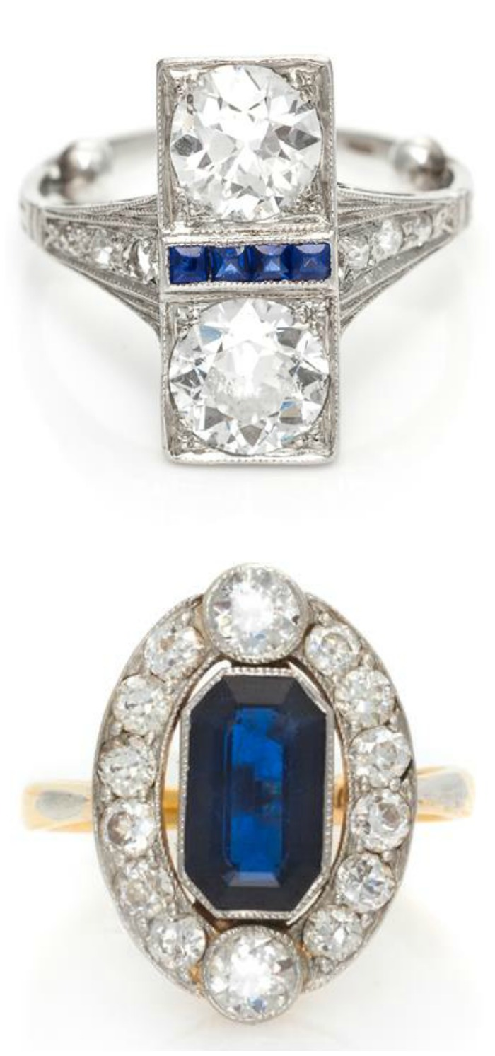 Two beautiful antique sapphire and diamond rings. The top is Art Deco, the bottom is slightly earlier, from the Edwardian era.