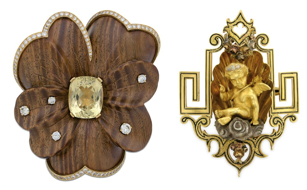 Two unique vintage and antique brooches that are currently up for auction and available through Bidsquare.