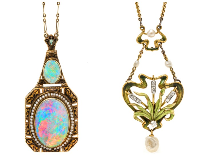 Two very different, very beautiful antique Art Nouveau necklaces from Leslie Hindman Auctioneers' December Important Jewelry Sale.