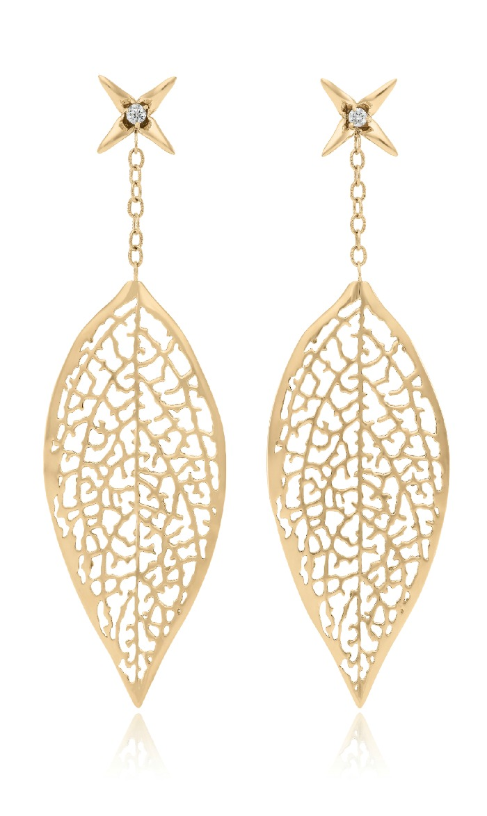 Vitae Ascendere's golden lace leaf earrings.