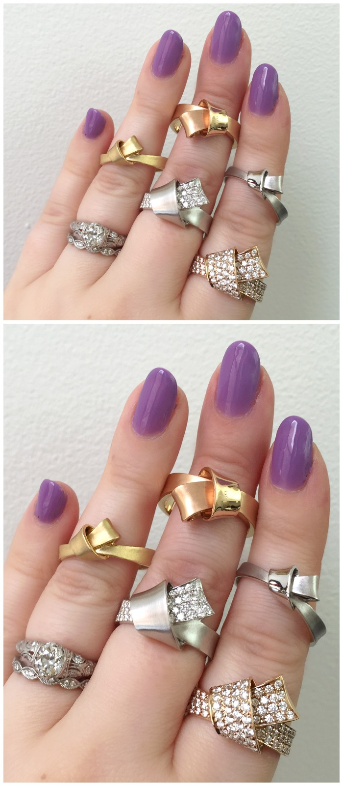 A hand full of lovely gold and diamond rings by Carelle.