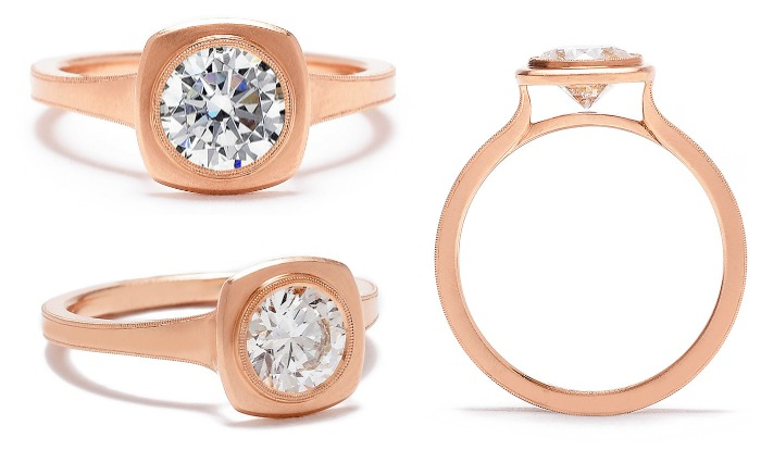 Erika Winters' Jin bezel-set diamond engagement ring in rose gold. One of my favorite bezel-set contemporary engagement rings.