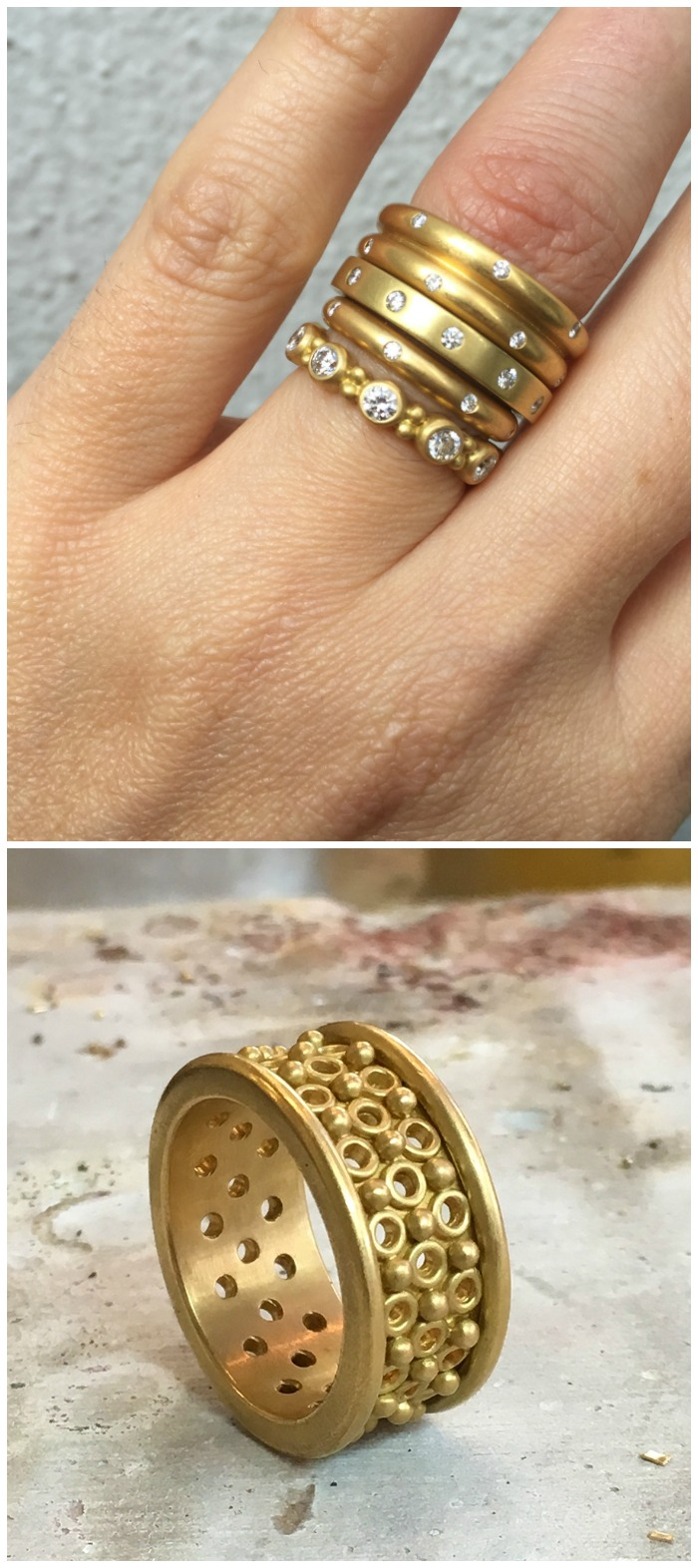 Handmade gold rings by Reinstein Ross.