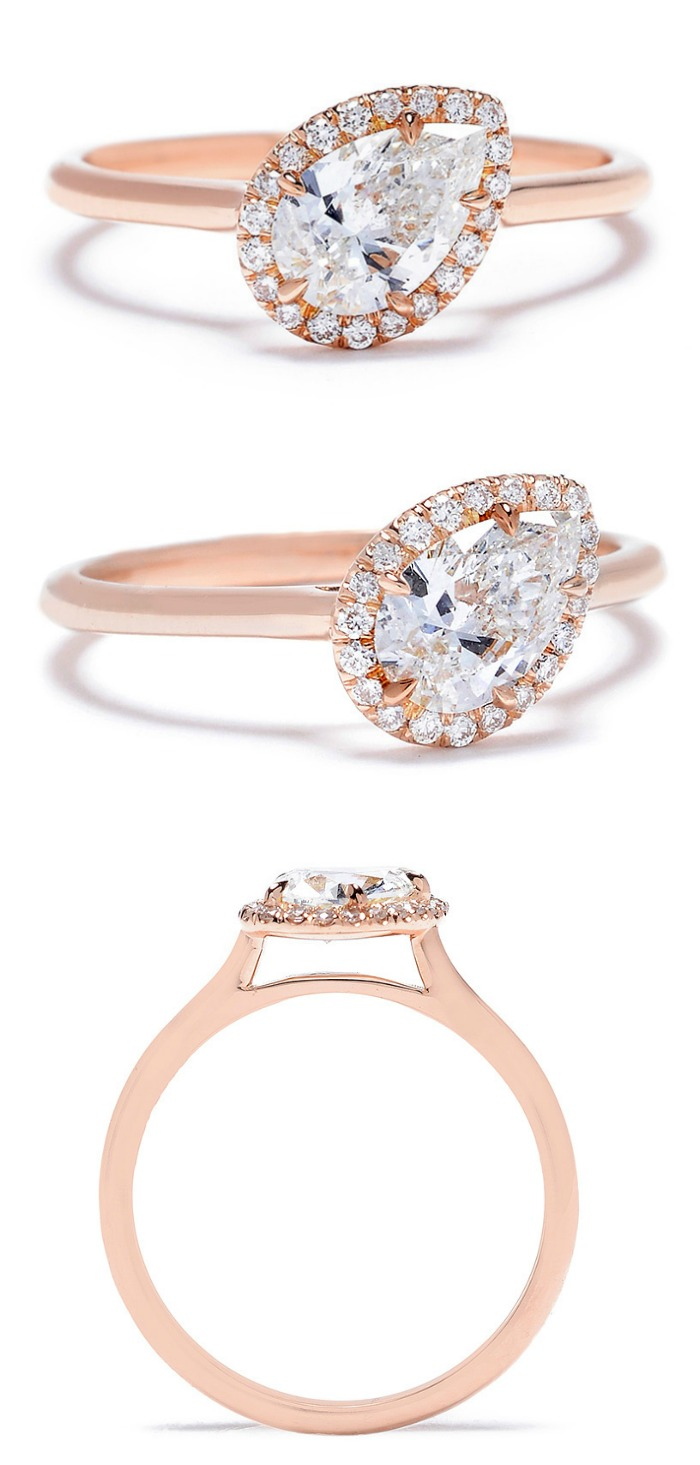 Jade Trau Free Bird halo diamond engagement ring in rose gold.