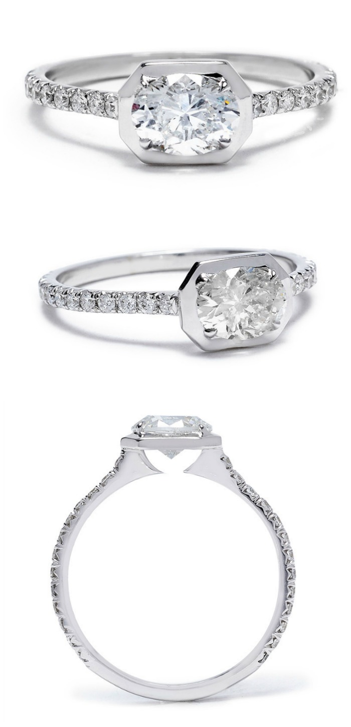 Jade Trau diamond Ivy engagement ring in white gold.