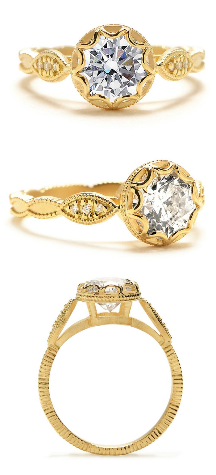 Megan Thorne Limited Collection scalloped bezel engagement ring in gold with a round brilliant cut diamond.