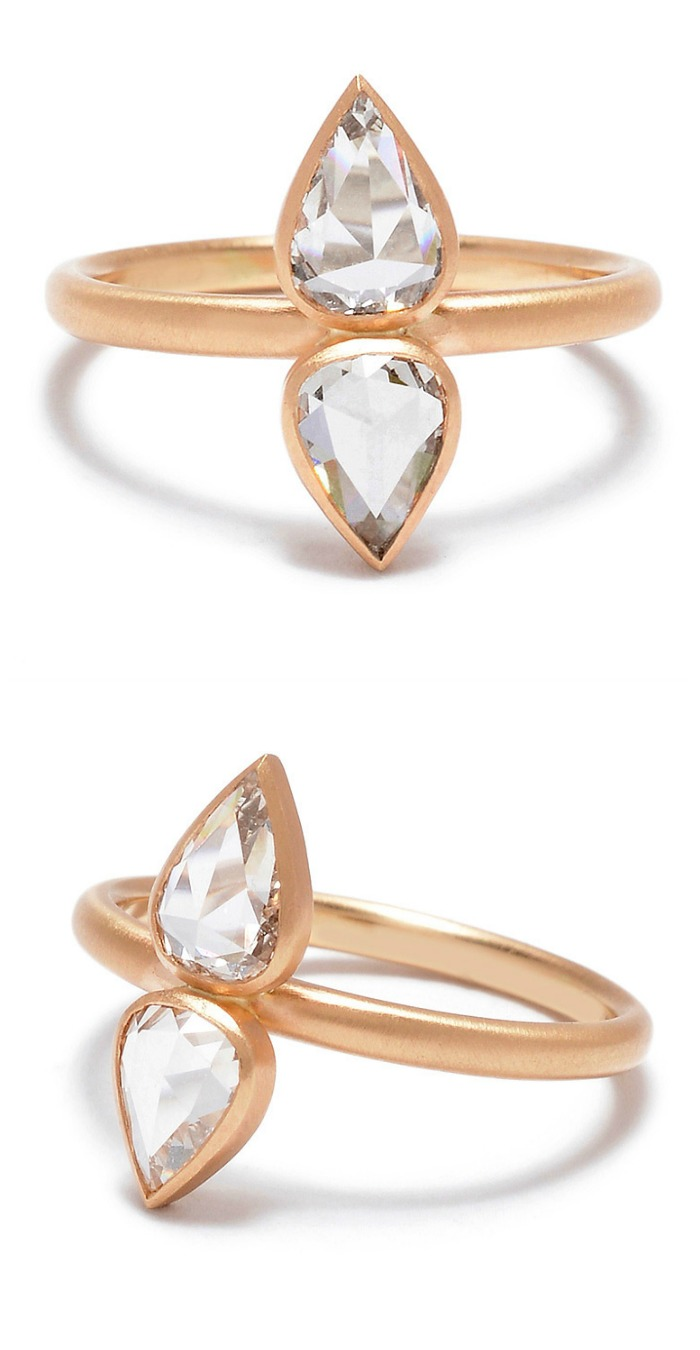 Rebecca Overmann double pear rose-cut diamond engagement ring in rose gold.