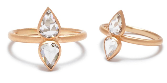 Rebecca Overmann double pear rose-cut diamond engagement ring in rose gold. A wonderful example of outside-the-box thinking in contemporary engagement rings.