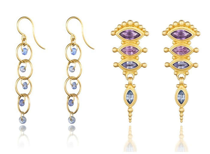 Reinstein Ross gemstone earrings in gold with colorful sapphires.