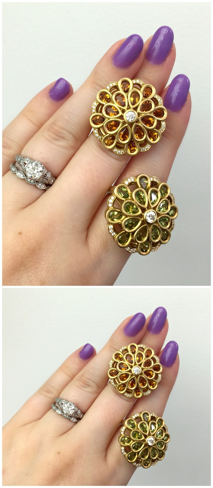 Two fantastic gemstone and diamond cocktail rings by Carelle.
