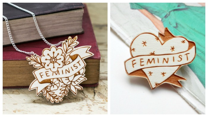 Two very pretty pieces of feminist jewelry made out of wood.