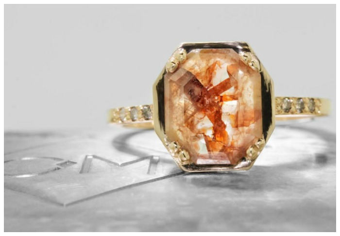 A 1.22 carat rust and champagne diamond engagement ring from Chinchar Maloney's The New Classic Collection.