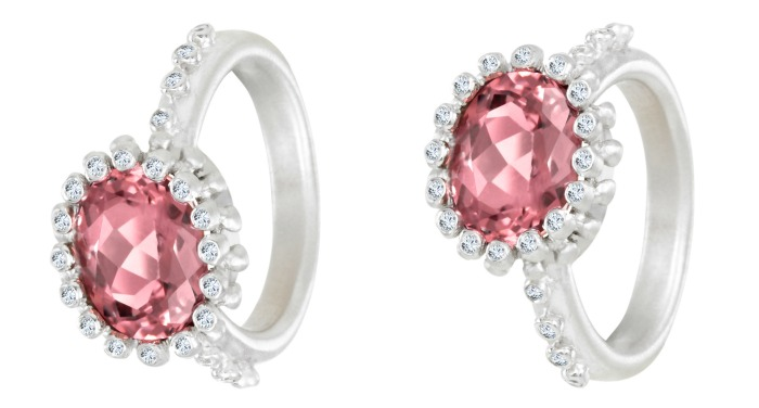 A Suzy Landa pink tourmaline ring. In white gold with diamonds.