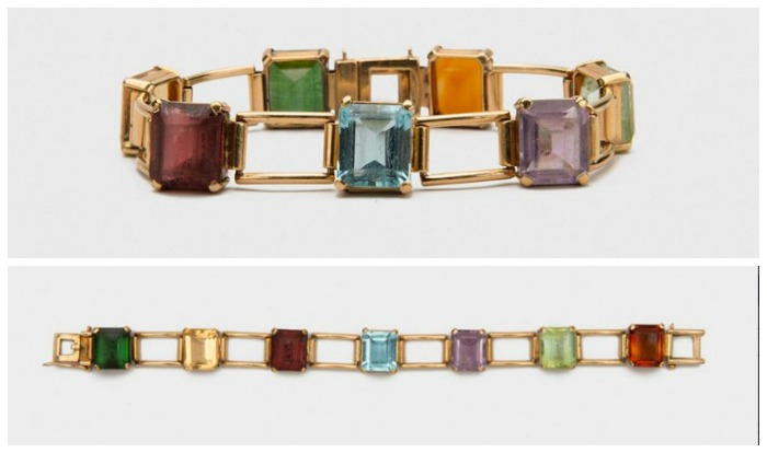 A bracelet in 14K yellow gold, with emerald-cut citrine, tourmaline, amethyst, aquamarine, and peridot gems.