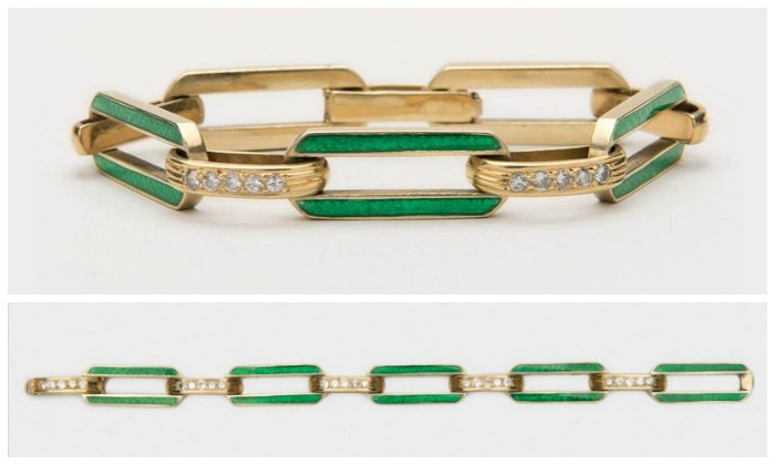 A green enamel and diamond link bracelet in gold by Cartier.