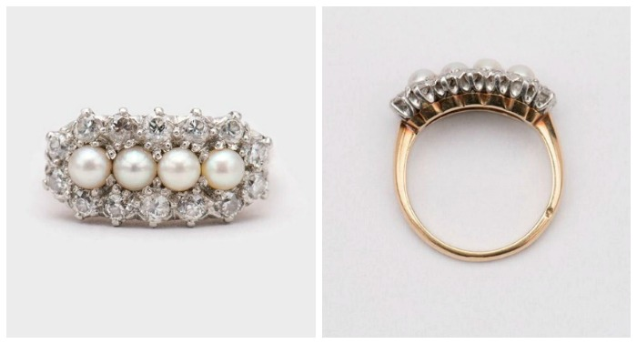 A pearl and diamond ring set in yellow gold and platinum.