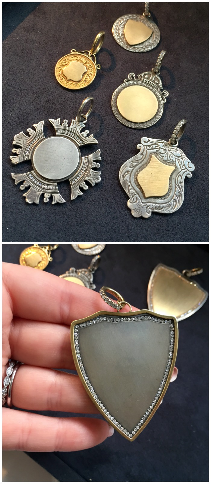 Anabel Higgins pendants inspired by antique, Victorian era fobs. Spotted at Metal and Smith.