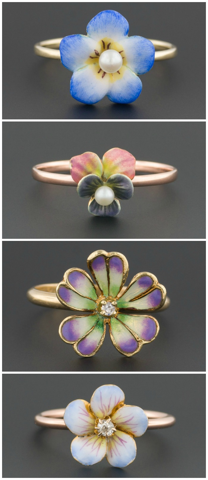 Antique enamel flower rings. These pretty little things are all stickpins converted into rings by Trademark Antiques.