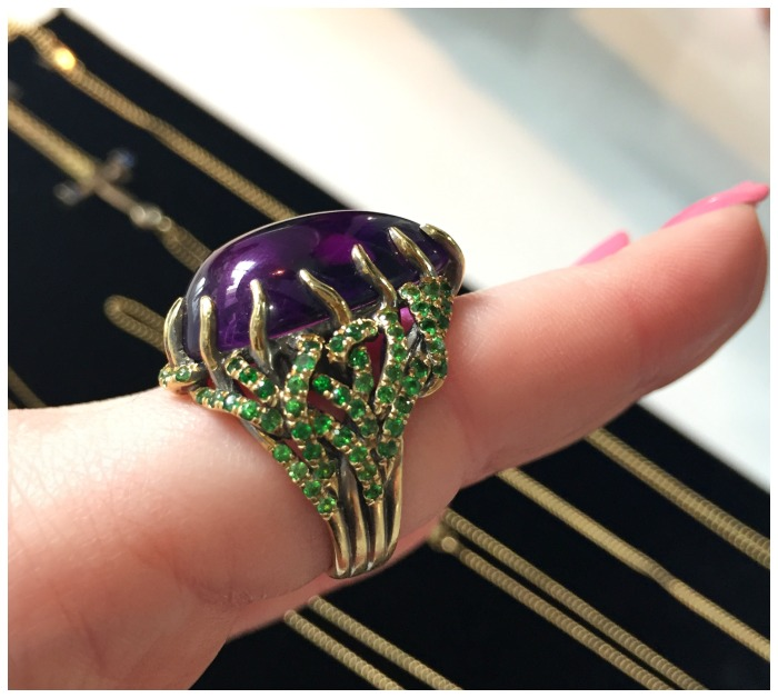 Marie Antoinette by Wendy Brandes, with a custom-cut 27.64 ct amethyst and 2 carats of tsavorite in 18k gold.
