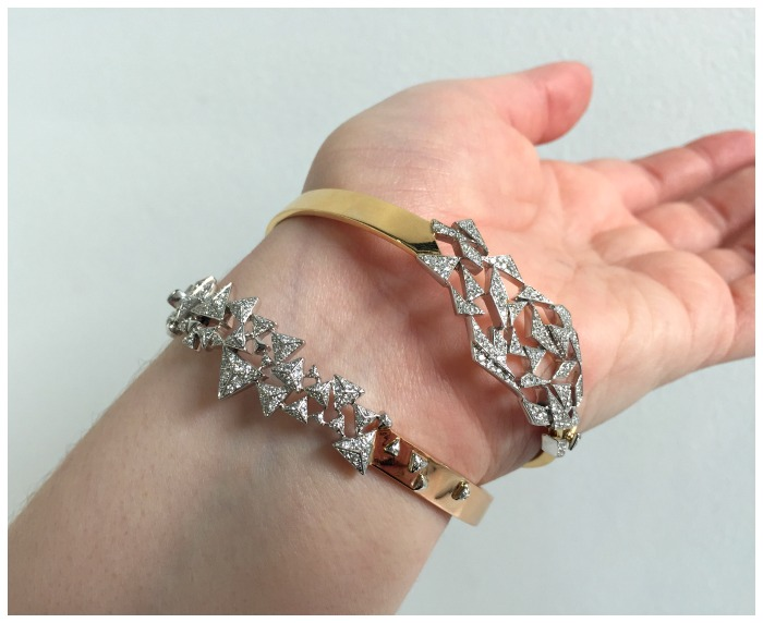 Two fabuloua gold and diamond bangles from Swati Dhanak Jewelry's Shards collection.