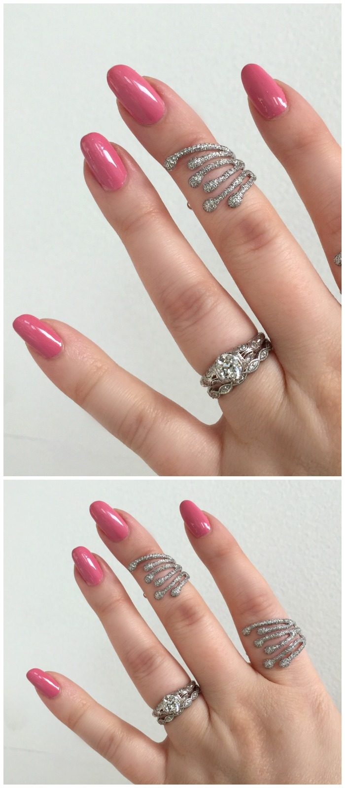 Two fantastic diamond rings from Swati Dhanak Jewelry's Splatter collection.