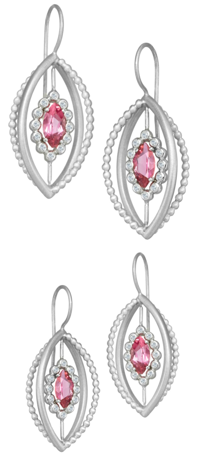 A pair of Suzy Landa pink tourmaline earrings in white gold with diamonds.