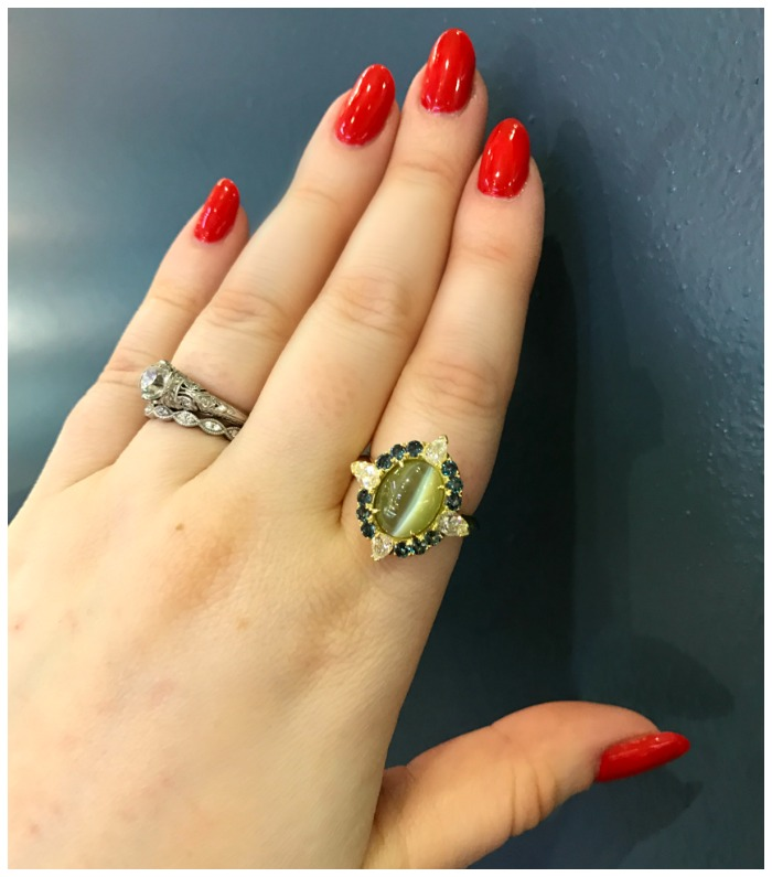 A stunning cat's eye chrysoberyl ring by Omi Prive.