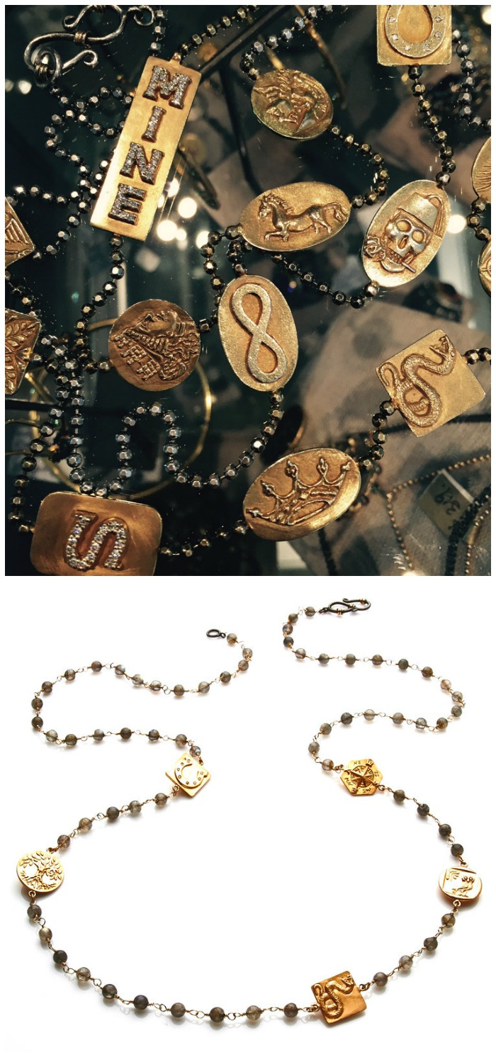 Jewelery designer Stella Flame's Story Chains use gold amulets to tell the wearer's story.