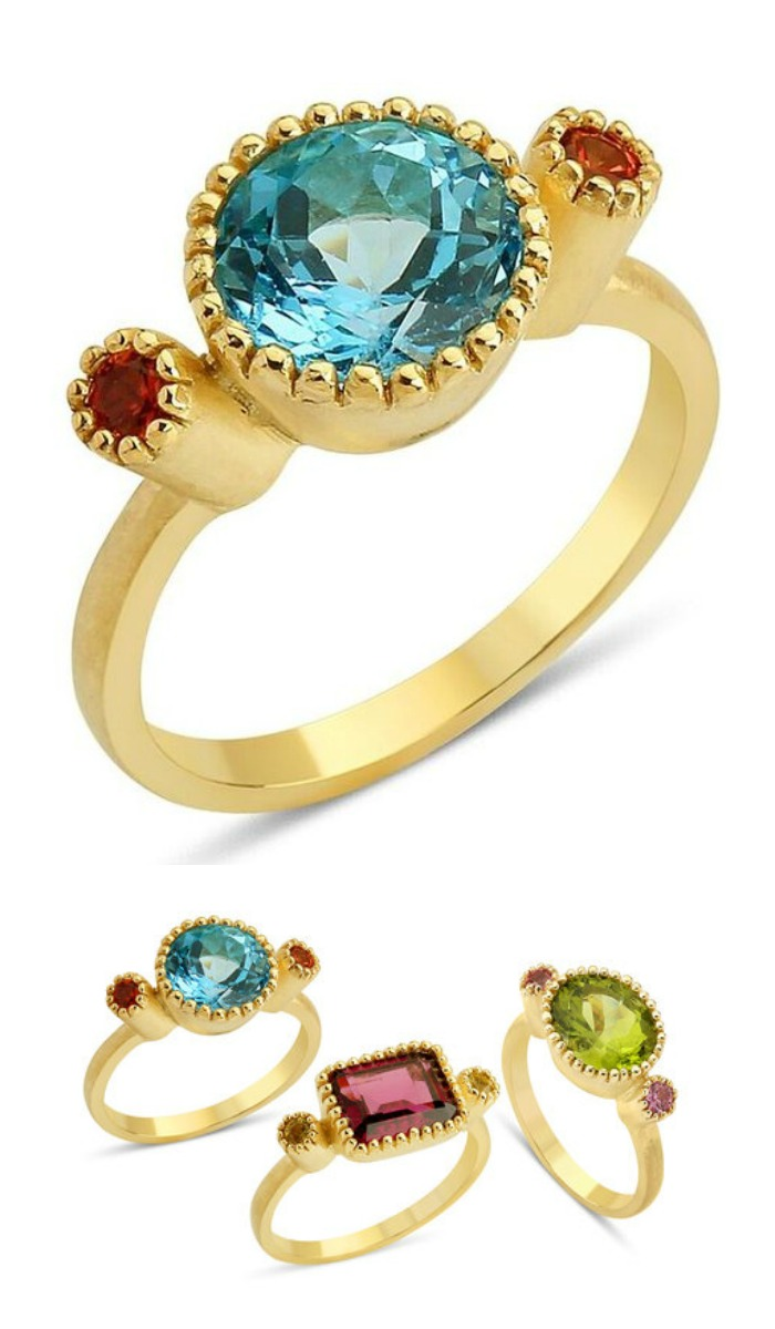 Stella Flame's Blossom Oval ring with bright, colorful gemstones.