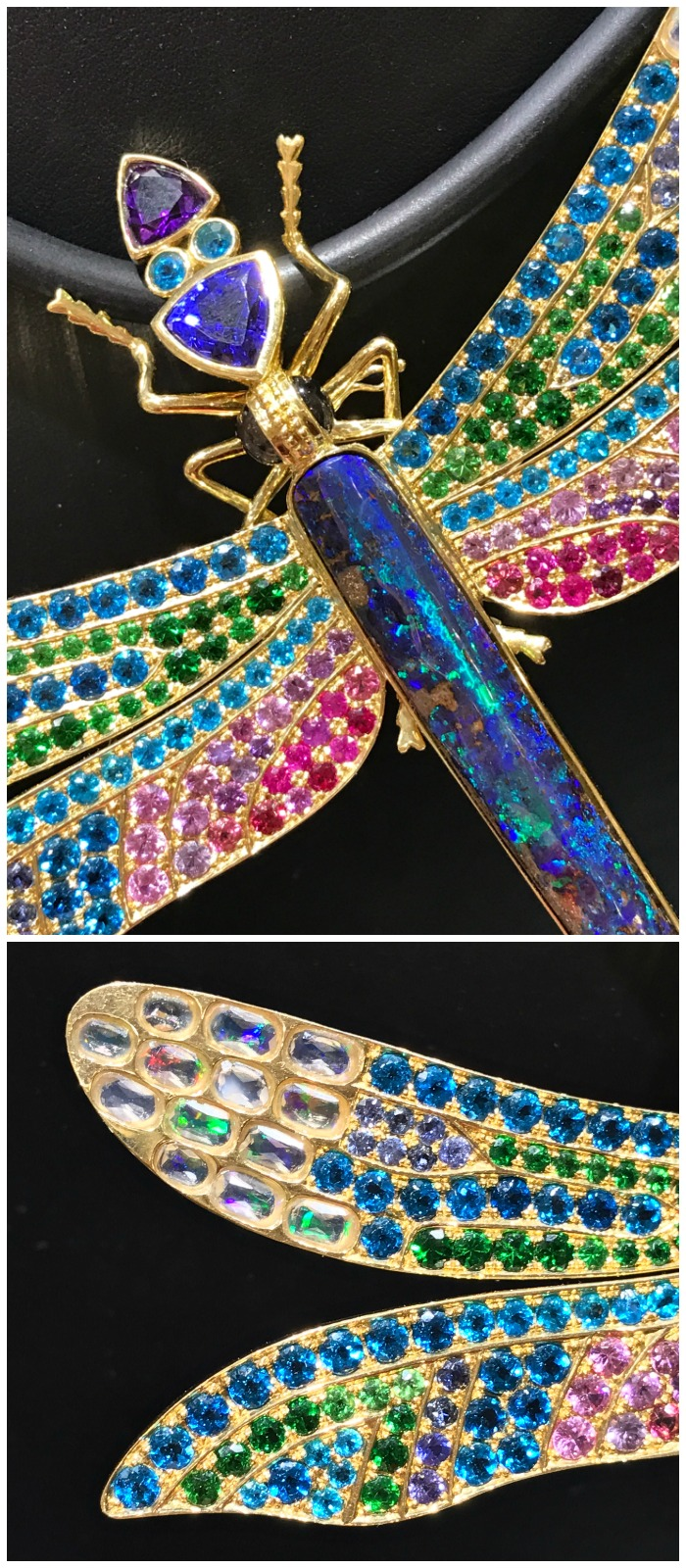This dragonfly pendant from Paula Crevoshay is a masterpiece of opals and colored gemstones.